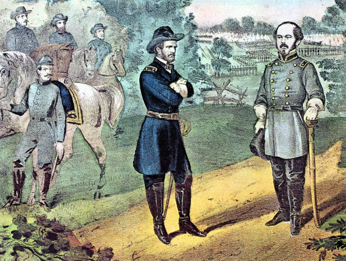 Union General William Tecumseh Sherman, left, meeting General Joseph E. Johnston to discuss terms of surrender of Confederate forces in North Carolina. (Credit: Universal History Archive/Getty Images)