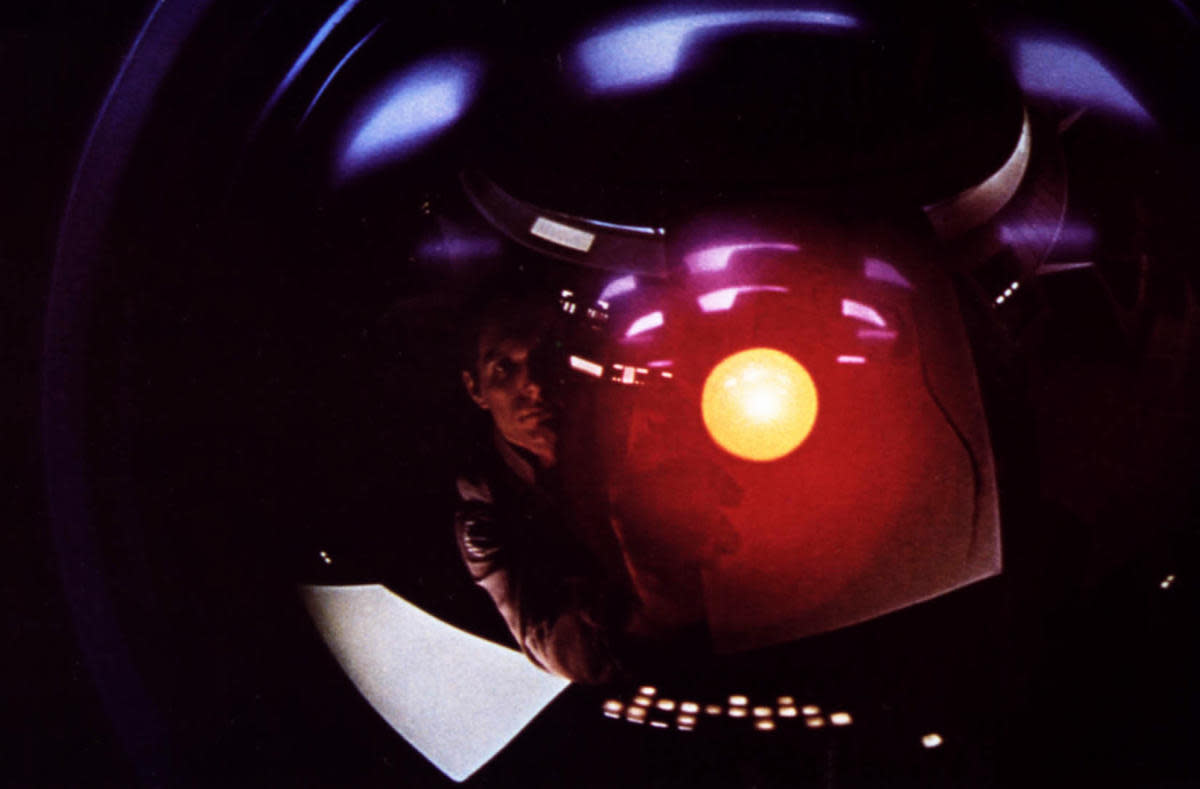 Actor Keir Dullea reflected in the lens of the HAL-9000 supercomputer. (Credit: Mary Evans/MGM/Polaris/Stanley Kubrick/Ronald Grant/Everett)
