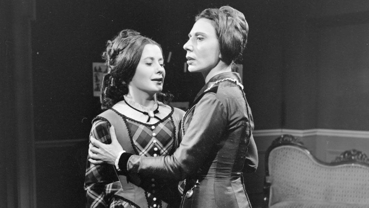 "Michèle André and Alice Sapritch in ""The Bostonians"", the drama adapted by Jean-Louis Curtis from Henry James's novel. (Credit: Bernard Pascucci/INA via Getty Images)"