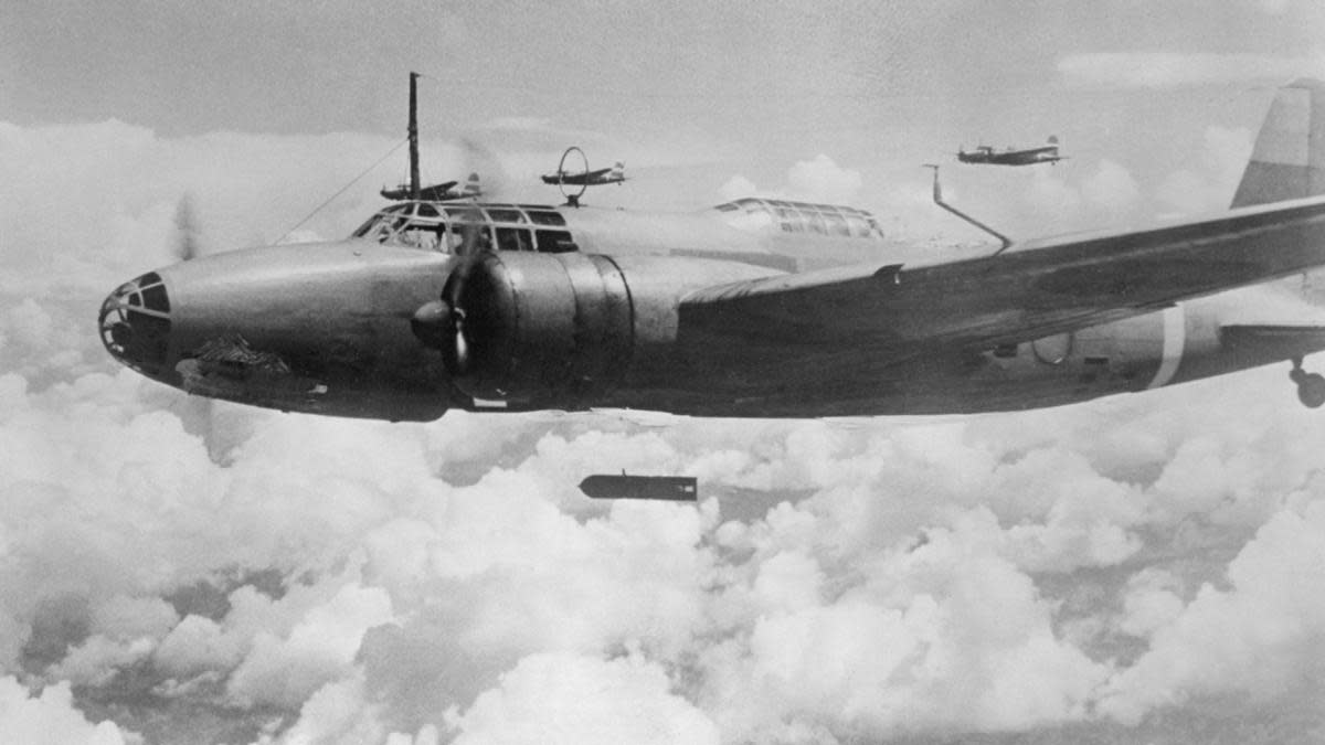 Proudly, the Japanese Army author ties sent out this bombing photograph as the Akiyama Squadron of Japanese planes, as they bombed an objective in China. The scene changed and afterwards, Japanese bombers flew over U.S. Islands in the Pacific and the bombs, such as these, left the planes aimed at the Pearl Harbor Naval base and other Strategic U.S. defense points in the Pacific. (Credit: Bettmann Archive/Getty Images)
