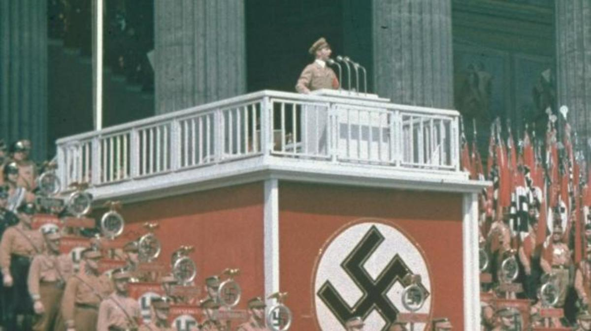 Propaganda chief Joseph Goebbels speaking at the Lustgarden in Berlin.  (Credit: Hugo Jaeger/Timepix/Time Life Pictures/Getty Images)