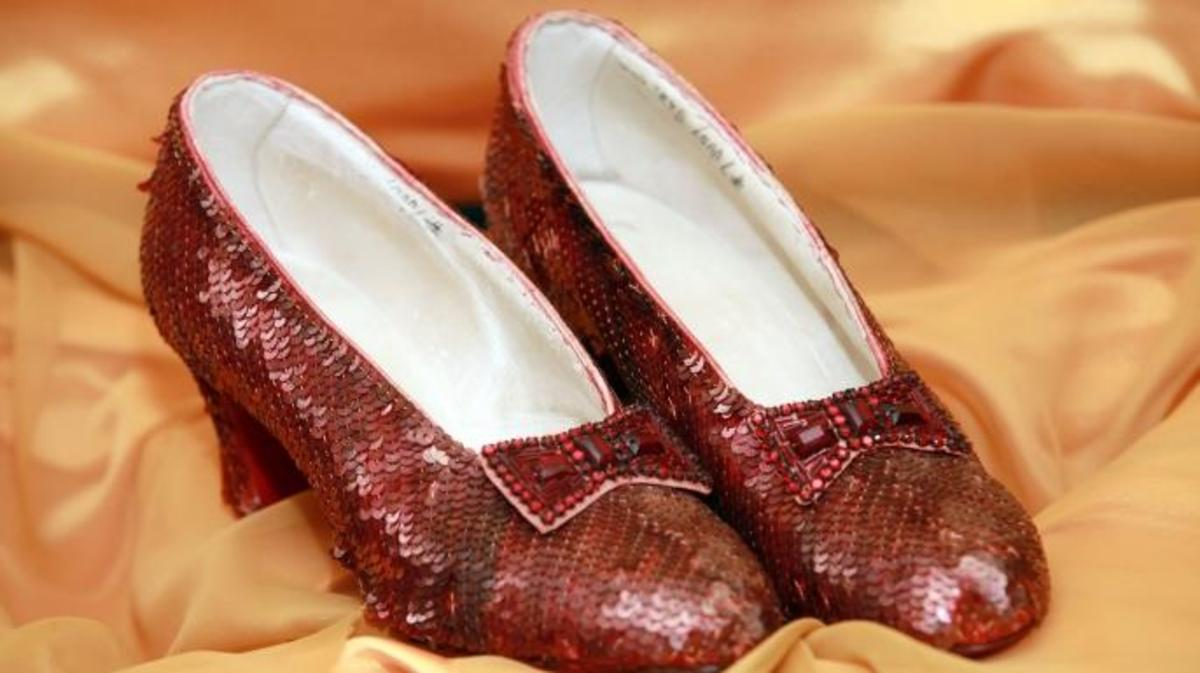 Ruby slippers worn by Judy Garland on display in 2011.