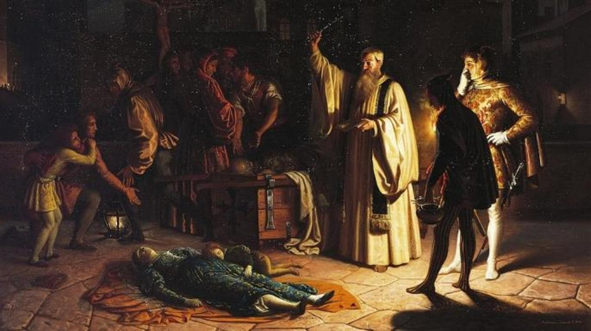 Scene of the plague in Florence.