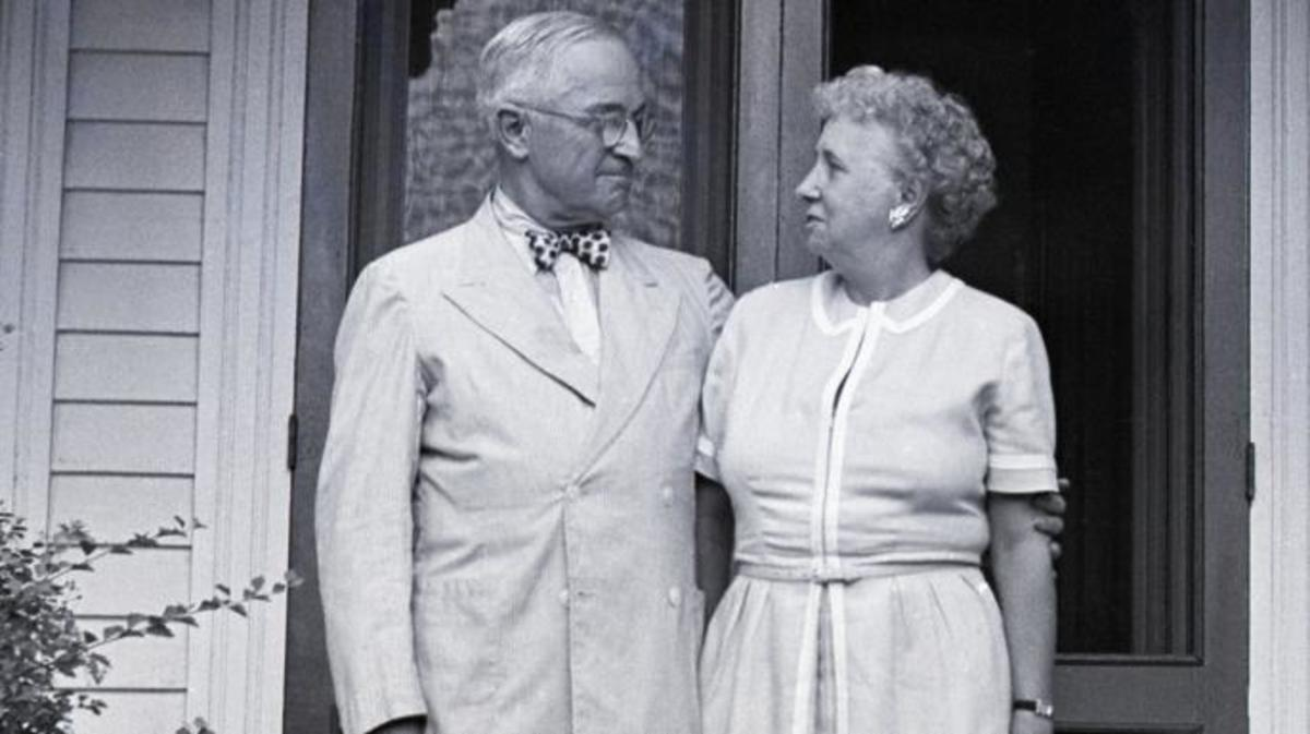 Harry and Bess Truman at their home in Independence, Missouri. (