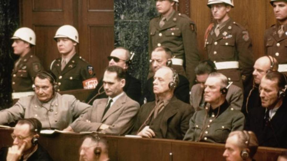 The defendants at the Nuremberg trials. Front row (l to r): Hermann Goering, Rudolf Hess, Joachim Von Ribbentrop, Wilhelm Keitel and Ernst Kaltenbrunner. Back row (l tor): Karl Doenitz, Erich Raeder, Baldur von Schirach and Fritz Sauckel.