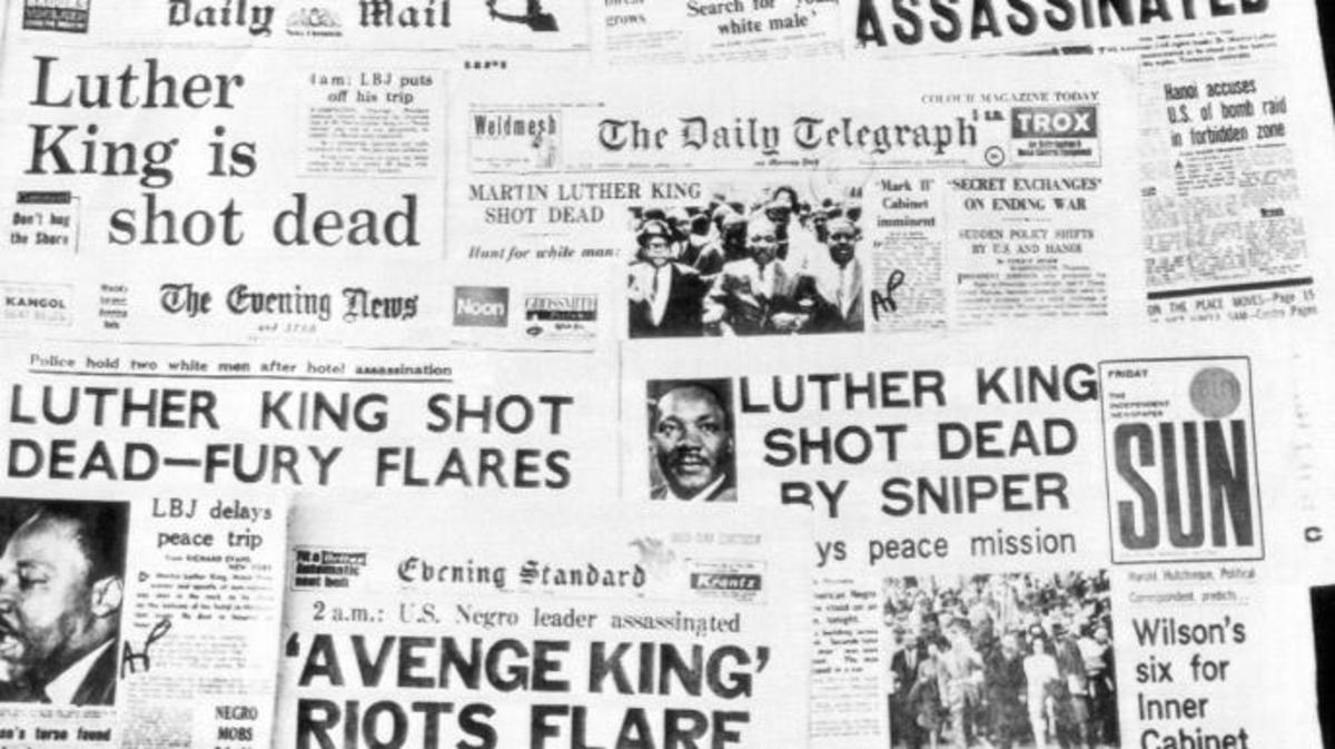 Morning headlines of the assassination of Martin Luther King, April 5, 1968. (Credit: AP Photo)
