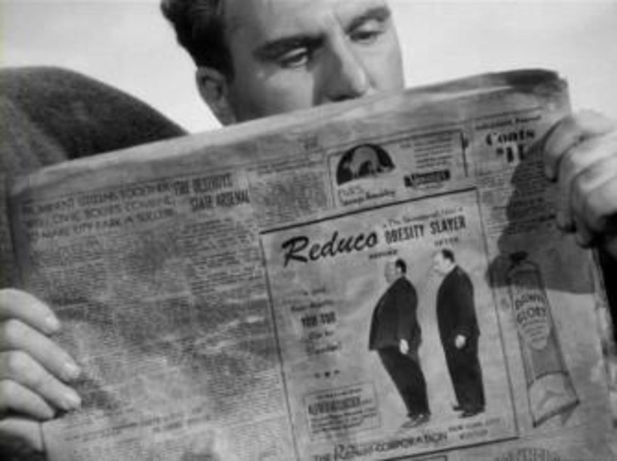 "Hitchcock's ""cameo"" in a newspaper ad in the film ""Lifeboat"""