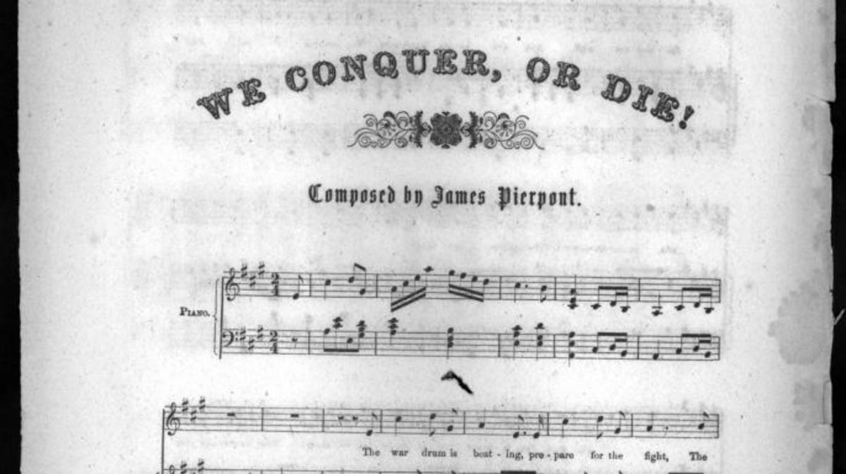 """We Conquer, or Die!"" sheet music. (Credit: Library of Congress)"