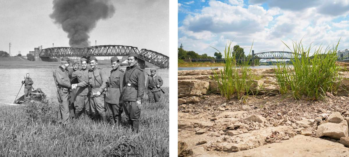 Russian and American troops meeting along the Elbe river on April 27, 1945 in front of a bridge destroyed during World War II. Now, what is usually only seen below the waters surface is visible due to the drought. (Credit: Keystone/Getty Images)