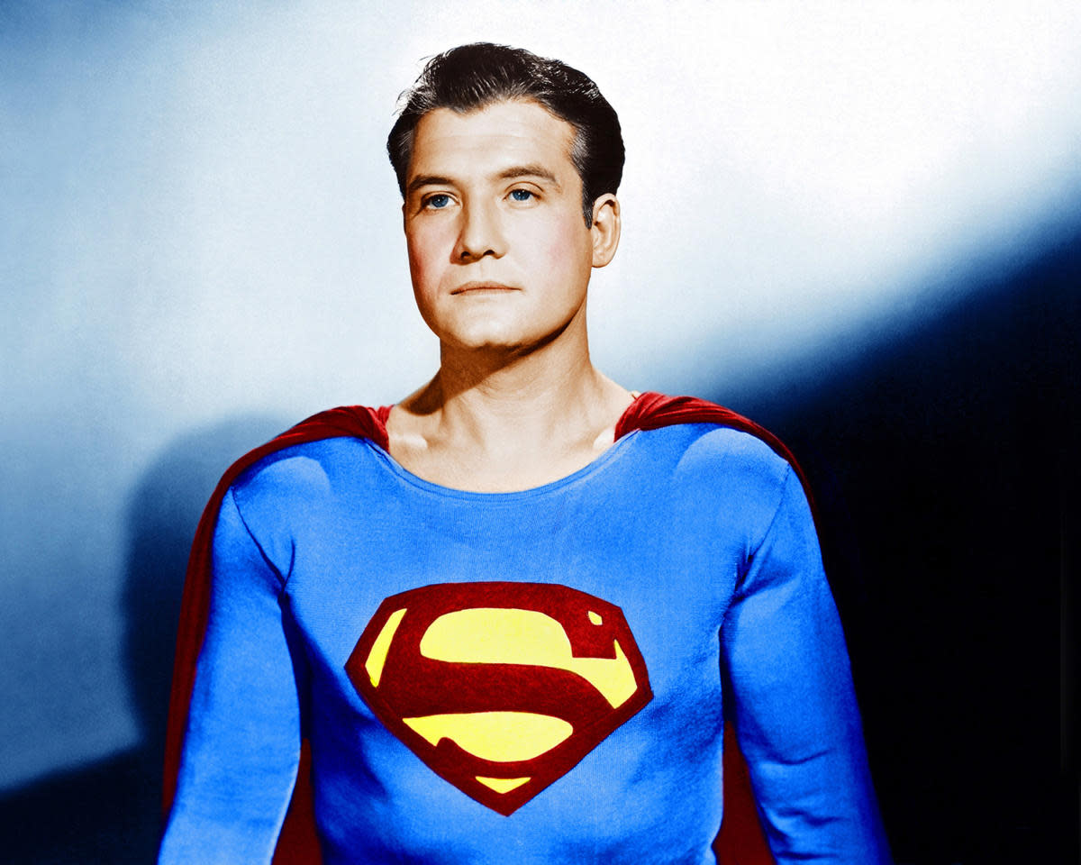 "George Reeves, who donned the cape between 1951 and 1958 in TV's ""The Adventures of Superman"" was mysteriously found dead of a gunshot to the head. (Credit: Everett Collection)"