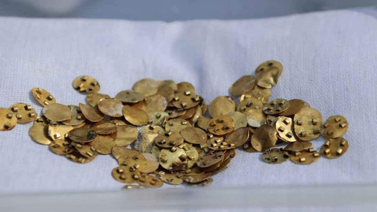 Gold items belonging to the Saka people that were discovered in Kazakhstan. (Credit: Oleg Belyalov/East2West News)