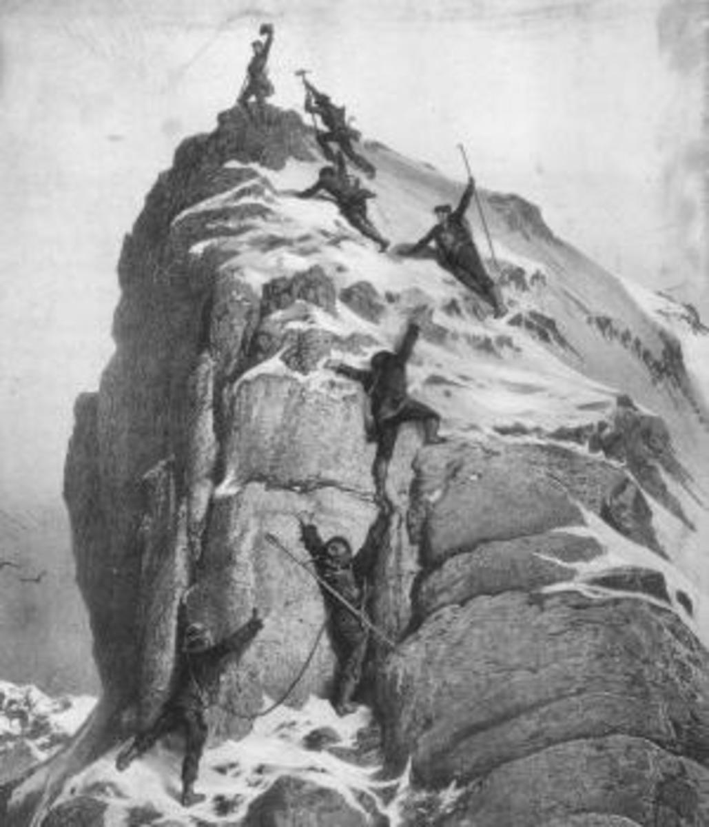 Illustration of the first Matterhorn ascent.