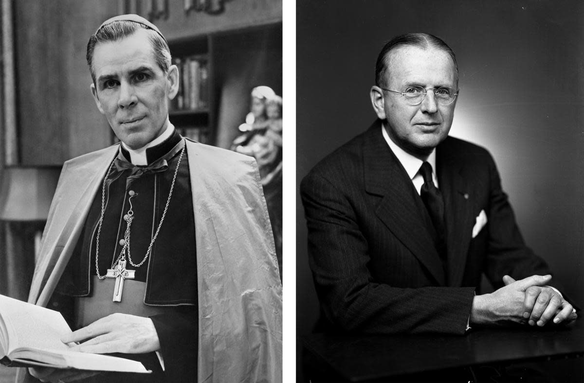 Bishop Fulton Sheen, 1953, and Dr. Norman Vincent Peale, 1955. (Credit: Bettmann Archive/Getty Images & Oscar White/Corbis/VCG via Getty Images)