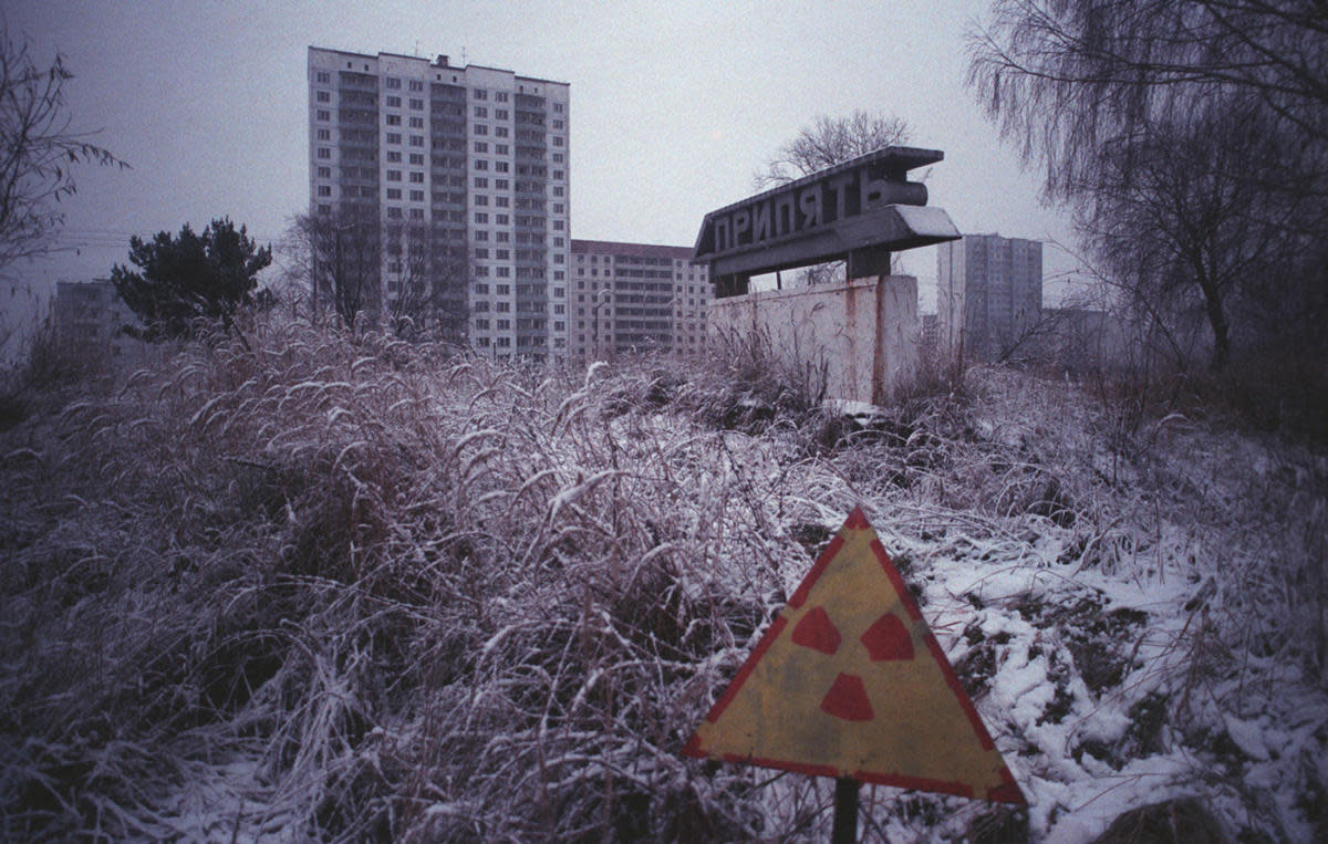 The model city of Prypiat, evacuated following the Chernobyl disaster, housed 47,000 inhabitants, including 17,000 children before the catastrophe. Prypiat cannot be inhabited for another 24,000 years.  (Credit: Igor Kostin/Sygma/Getty Images)