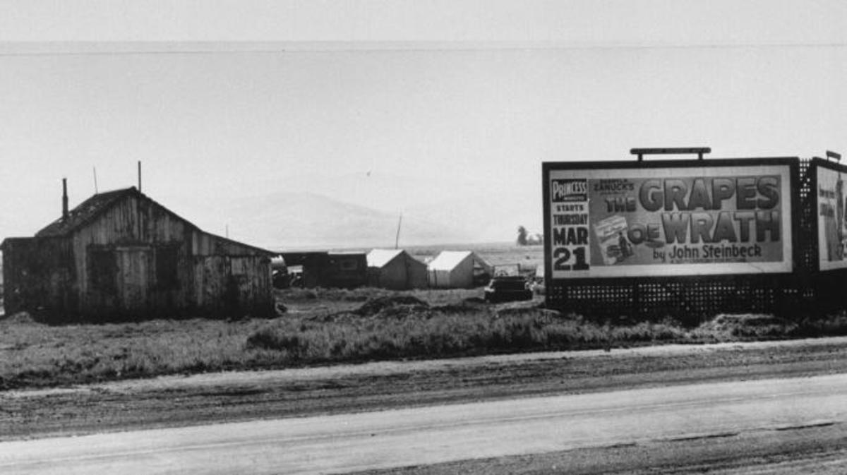 "Billboard advertisement for ""The Grapes of Wrath."""