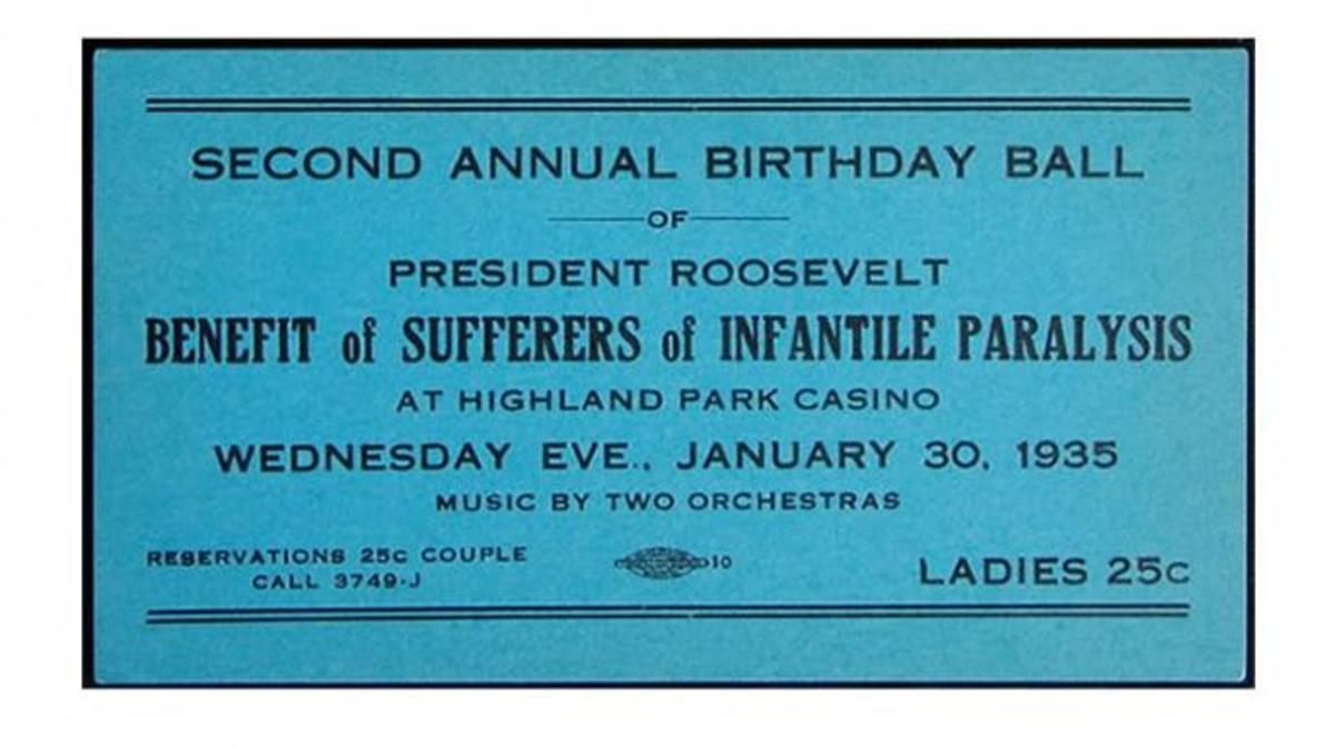 "Ticket to a 1935 ""Birthday Ball"" honoring President Franklin Roosevelt."