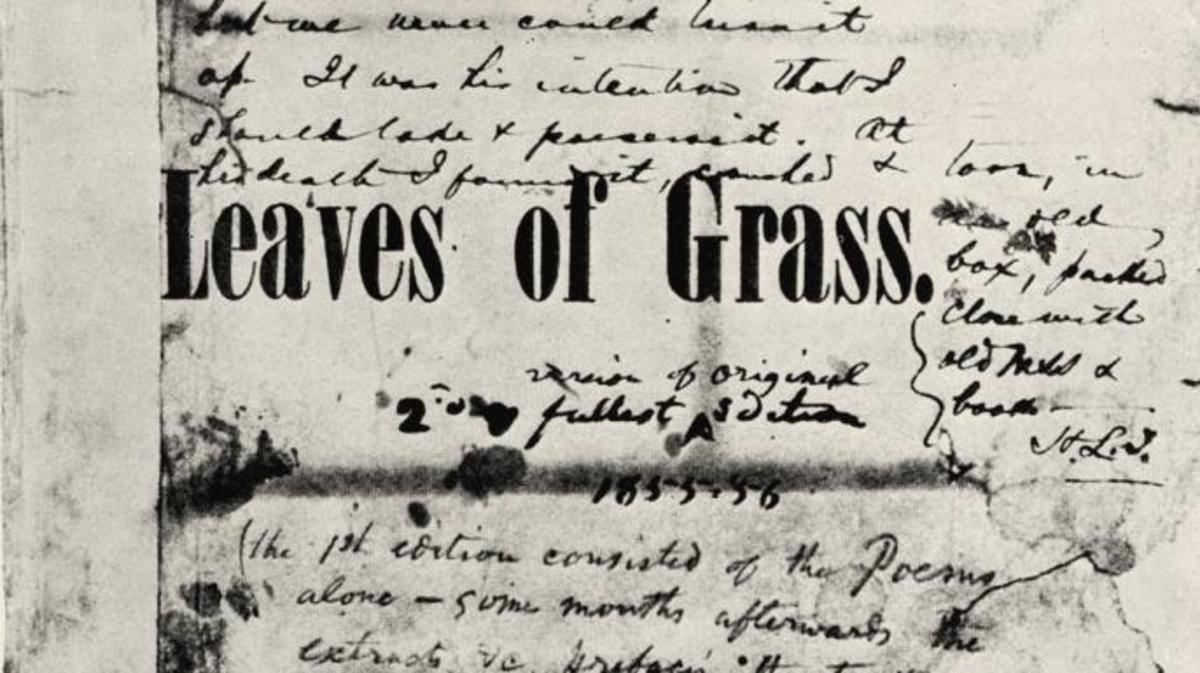 "Walt Whitman's copy of the first edition of ""Leaves of Grass."""