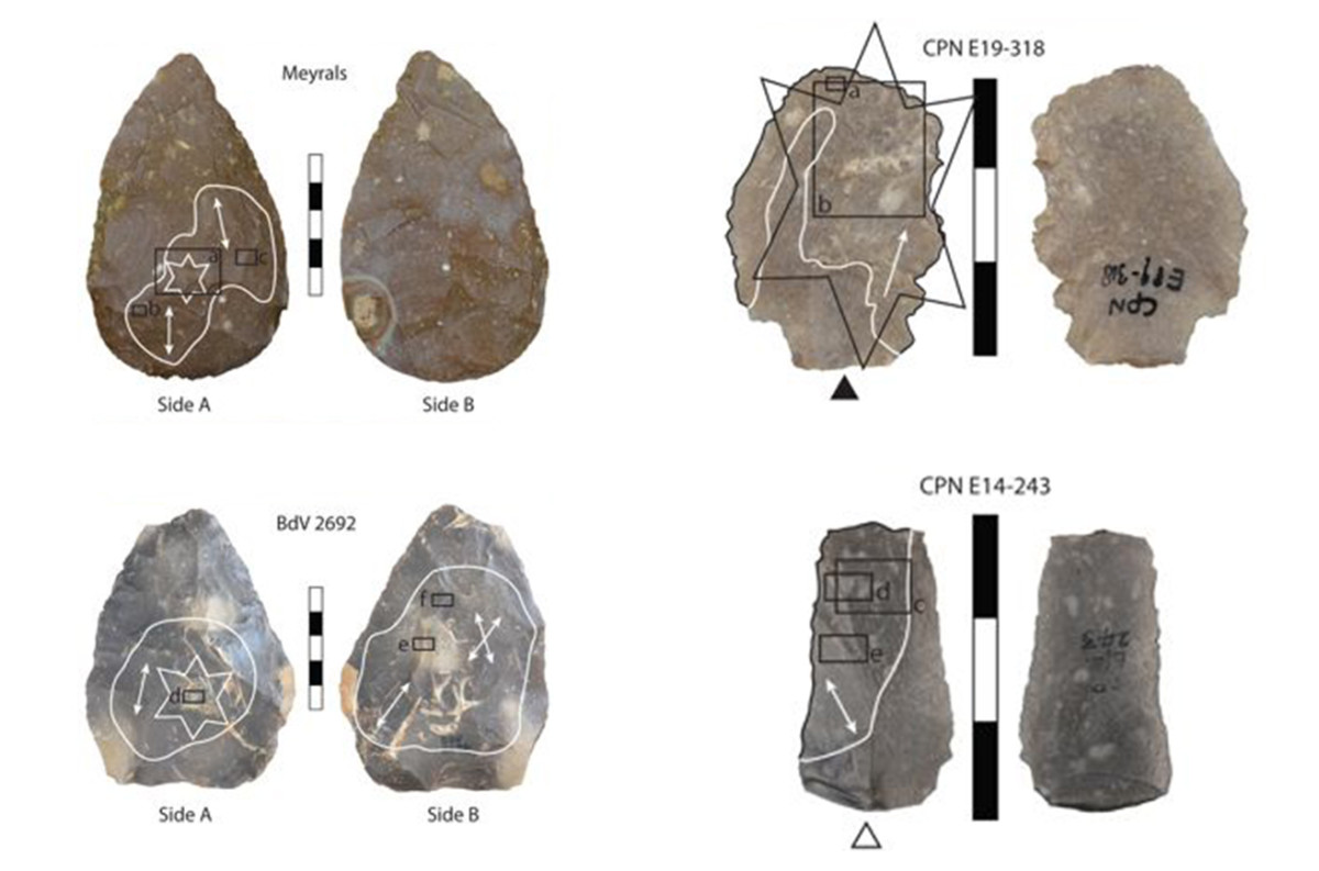 Some of the stone tools discovered where they examined mineral use-wear traces. The arrows indicates the orientation of striations. (Credit: A. C. Sorensen/Nature/CC BY 4.0)