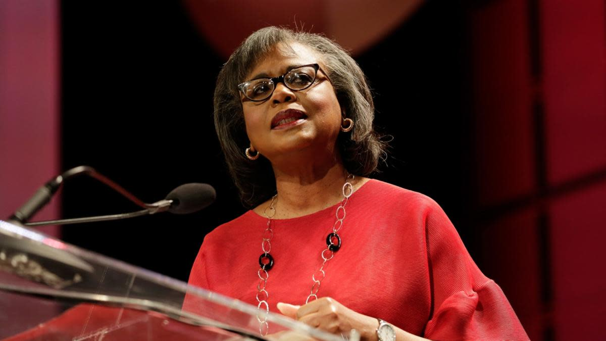 Anita Hill speaking at the Texas Conference For Women 2017 in Austin, Texas. (Credit: Marla Aufmuth/Getty Images for Texas Conference for Women)