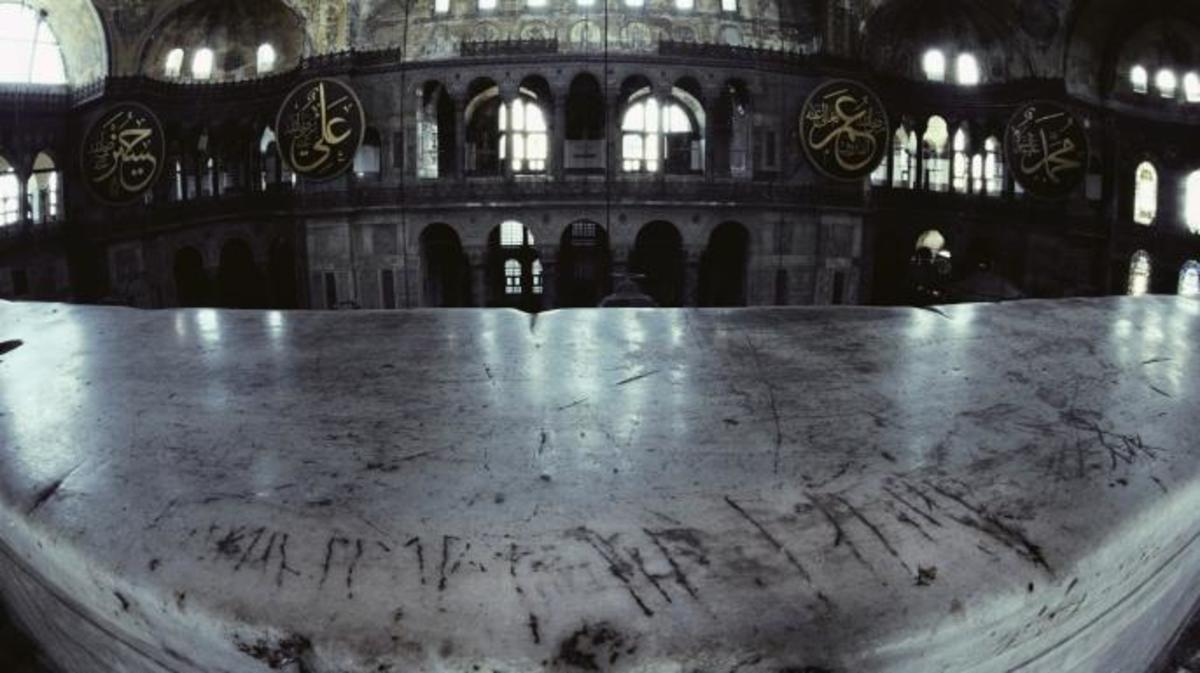 Viking graffiti scars a balustrade in Hagia Sophia. (Credit: Jim Brandenburg/ Minden Pictures/Getty Images)