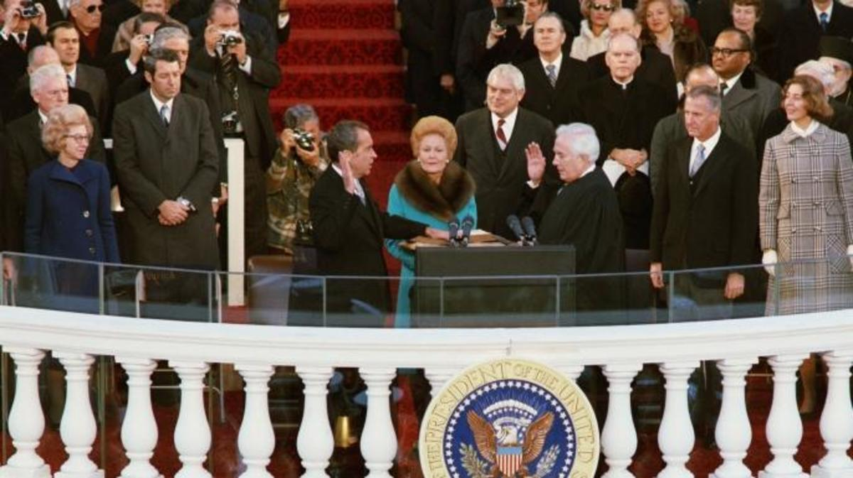 President Richard Nixon takes the oath of office during his second inauguration.