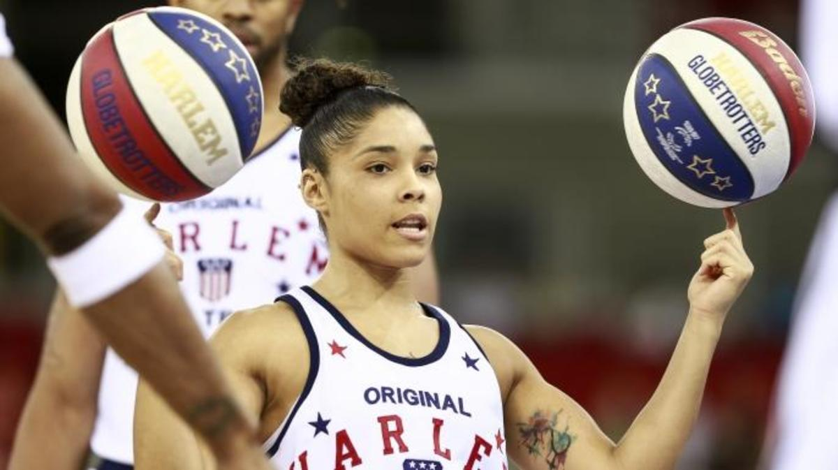 Chriss 'Ace' Jackson  of the Harlem Globetrotters spin the ball on her finger before an exhibition game against the World All-Stars at Arena on June 2, 2016 in Budapest, Hungary. (Credit: Arpad Kurucz/Anadolu Agency/Getty Images)