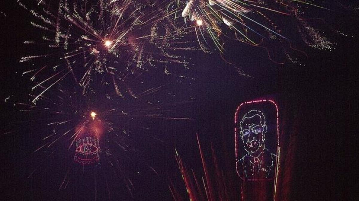 A fireworks display celebrates the 56th birthday of Lyndon Johnson at the 1964 Democratic National Convention.