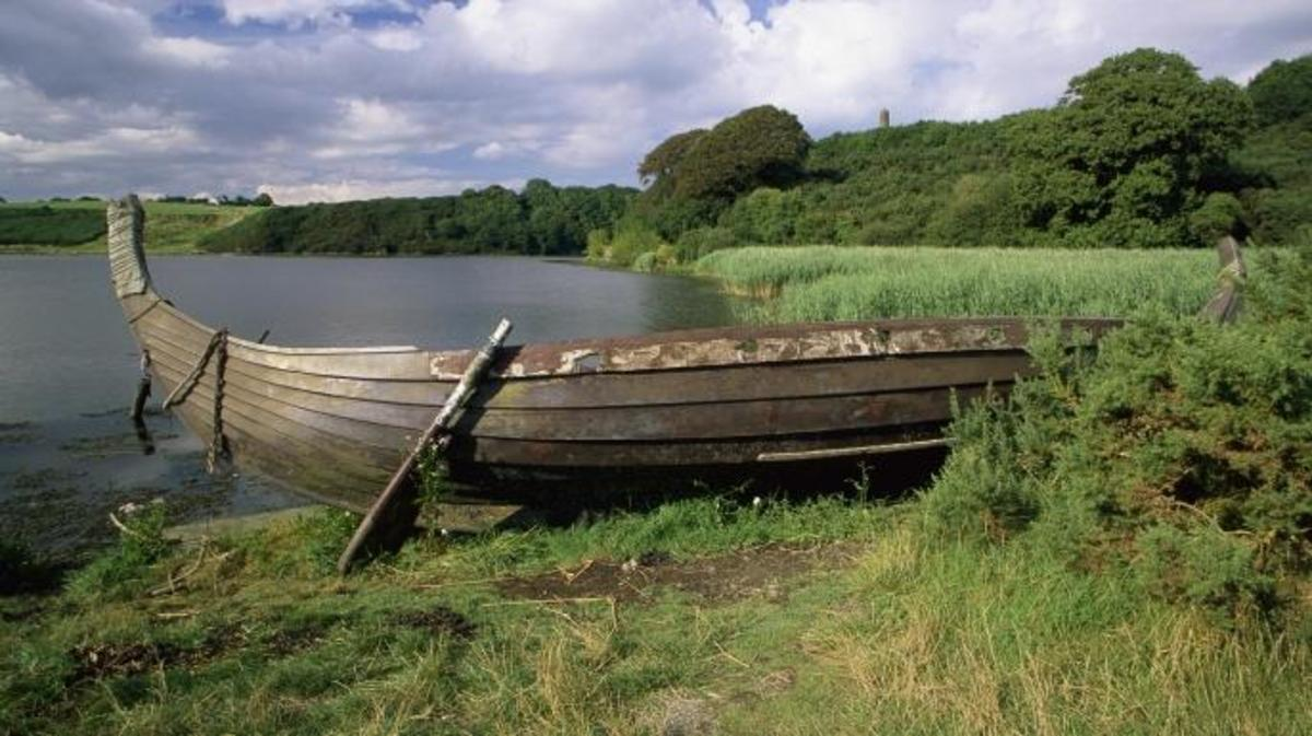 A Viking longship is beached on the lake shore at the Irish National Heritage Park. (Credit: Richard Cummins)