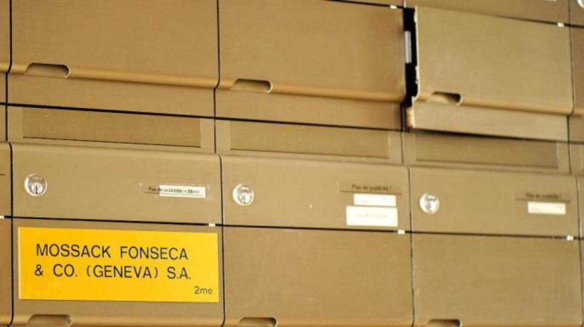 "A detail of the Mossack Fonseca Geneva office mailbox on April 5, 2016, following the leak of the ""Panama Papers."" (Photo by Pxl8/Getty Images)"