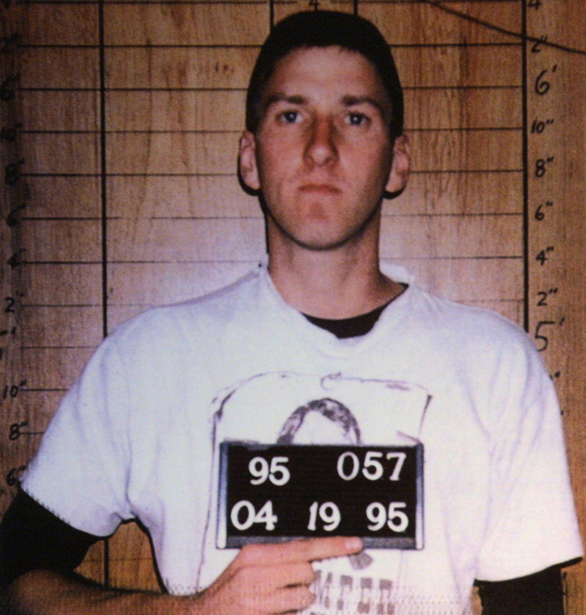 Police mug shot of Timothy McVeigh, as seen at the Oklahoma National Memorial Museum in Oklahoma City. (Credit: Getty Images)