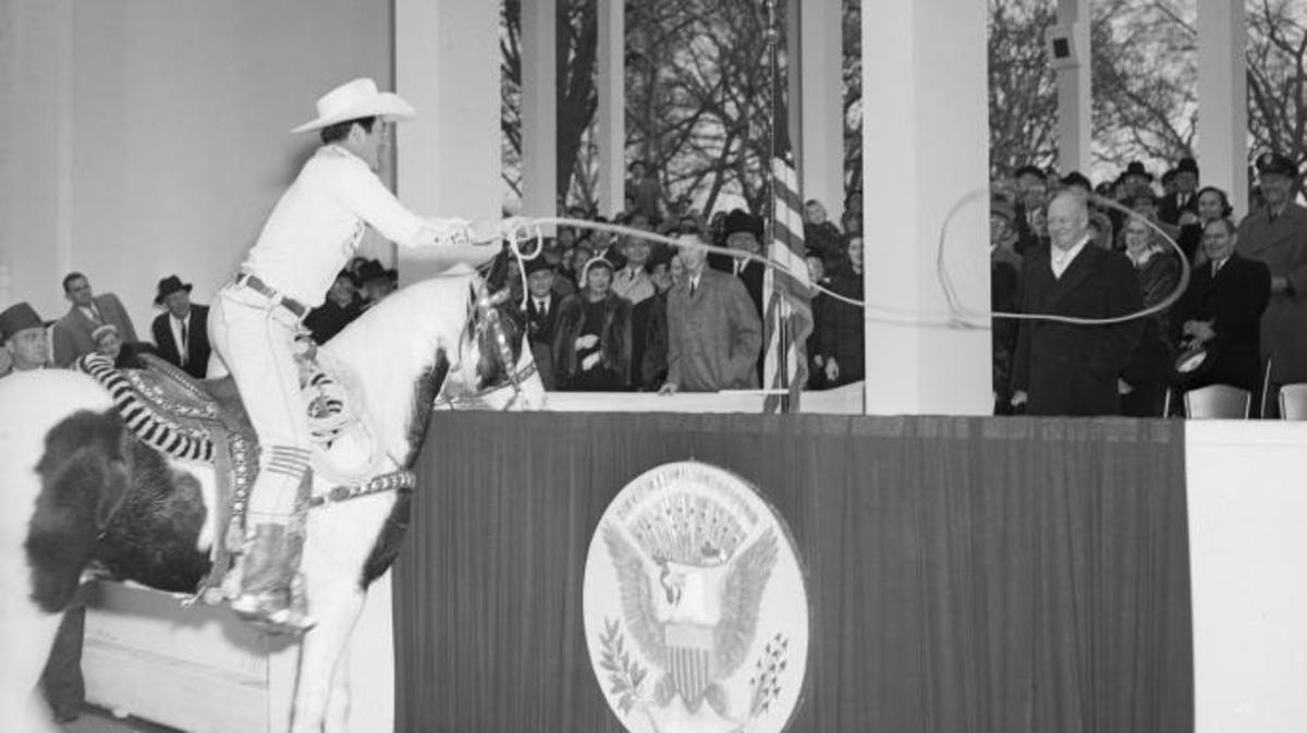 Cowboy Monte Montana, lassoing President Dwight D. Eisenhower during the 1953 inaugural parade.