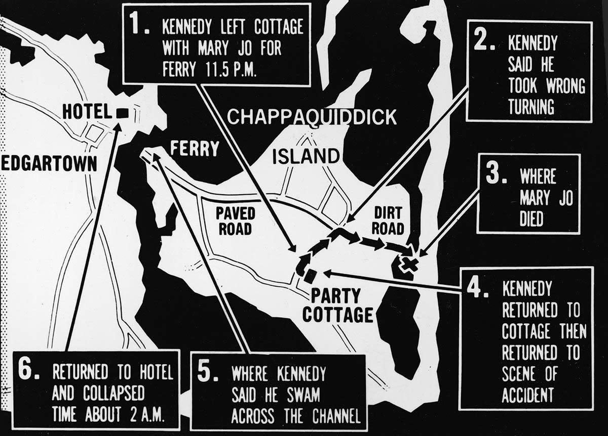 Map of Chappaquiddick, just off the island of Martha's Vineyard, that shows the locations of the major events of the evening of July 18, 1969, when a car driven by Senator Ted Kennedy crashed off of a bridge resulting in the death of Mary Jo Kopechne. (Credit: Express Newspapers/Getty Images)