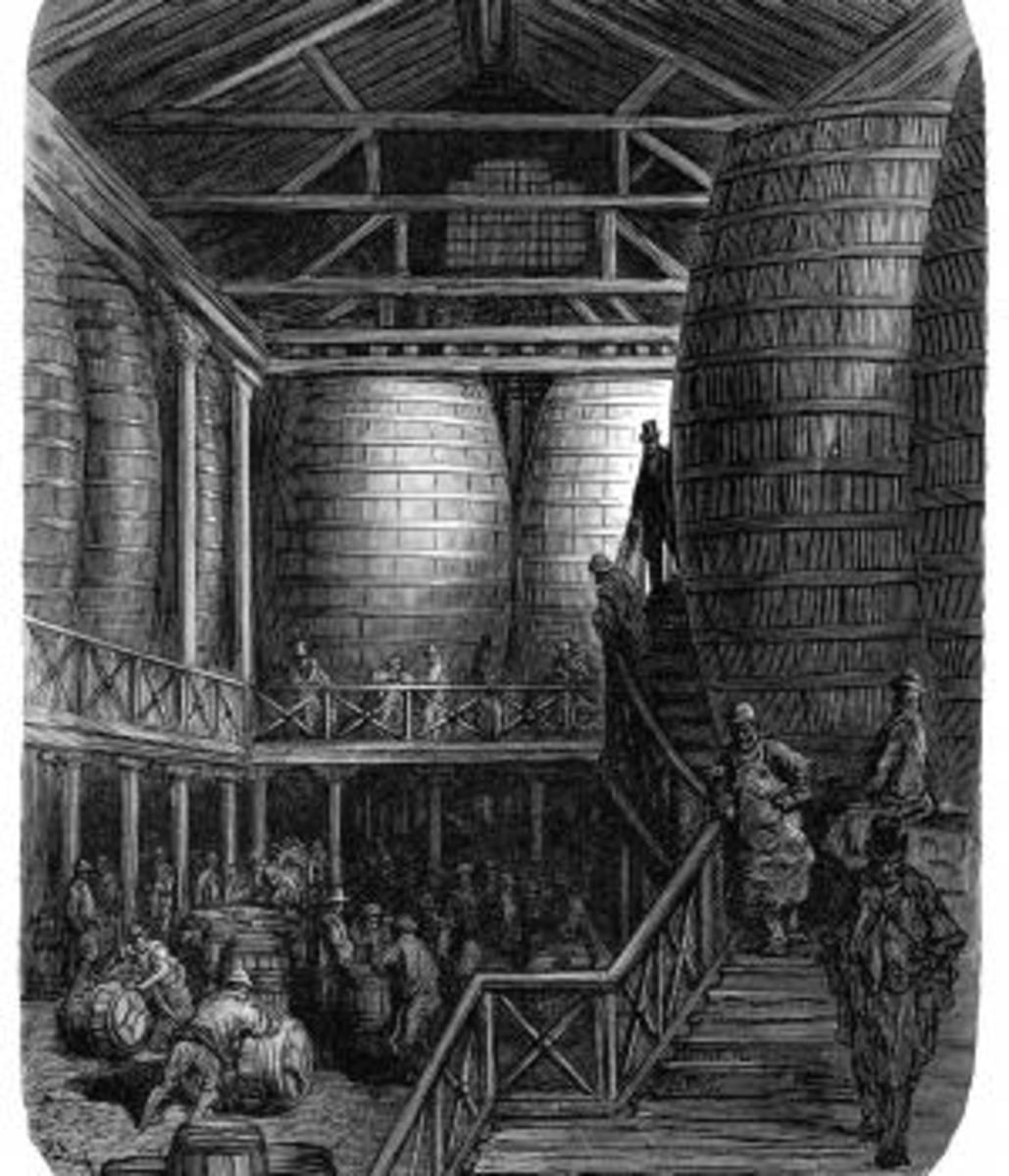 Engraving showing interior of 19th century London brewery. (Credit: duncan1890/iStockphotos.com)