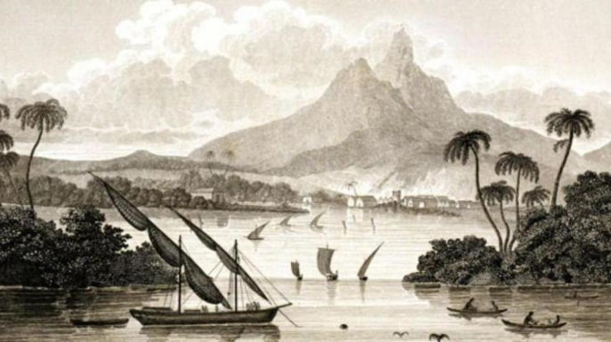 An engraving that purported to show the main harbor of Poyais.