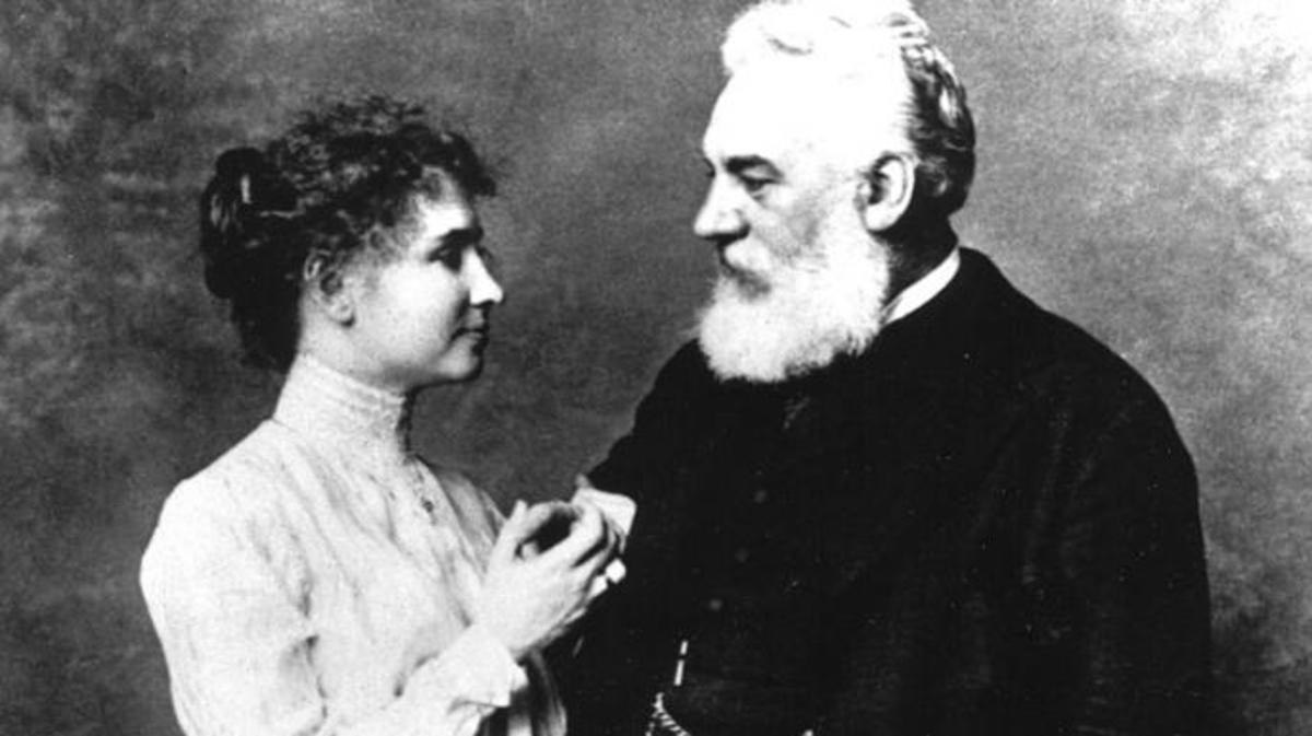 Helen Keller and Alexander Graham Bell. (Credit: PhotoQuest/Getty Images)
