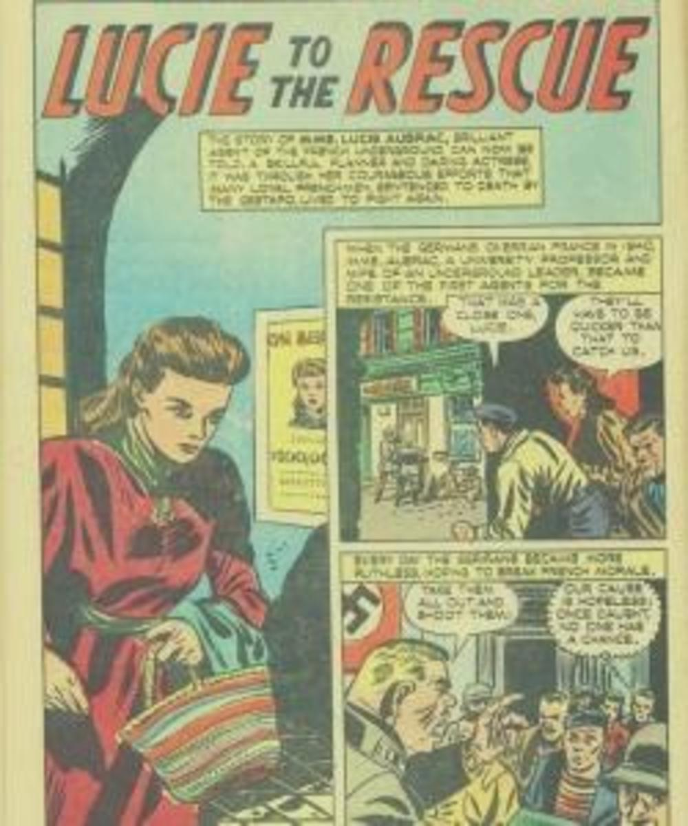 Page from an American comic book detailing Lucie's resistance work.