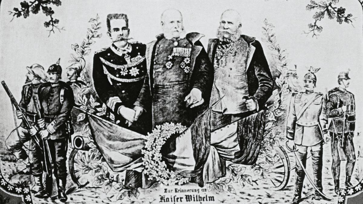 Kings William I, Franz Josef and Umberto I, on the occasion of the signing of the Triple Alliance, Treaty between the German Empire, Austria-Hungary and the Kingdom of Italy, 1882. (Credit: DeAgostini/Getty Images)