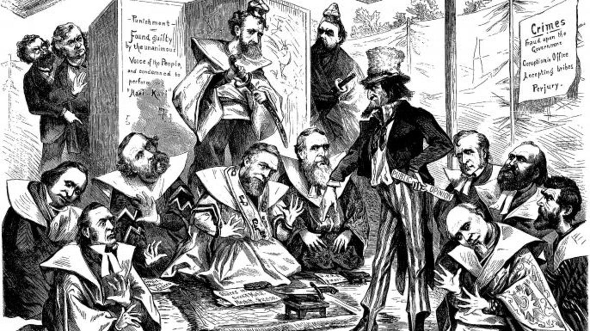 Uncle Sam directs those implicated in the Crédit Mobilier of America scandal to commit Hari-Kari. (Credit: Public domain)