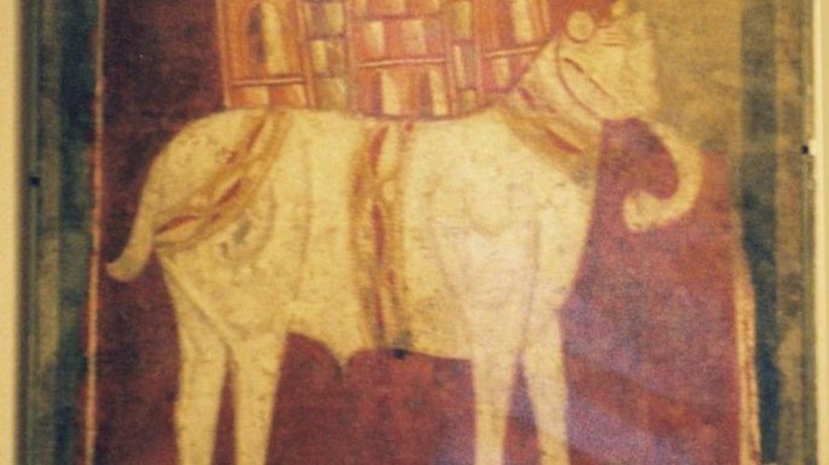 12th-century depiction of a white war elephant