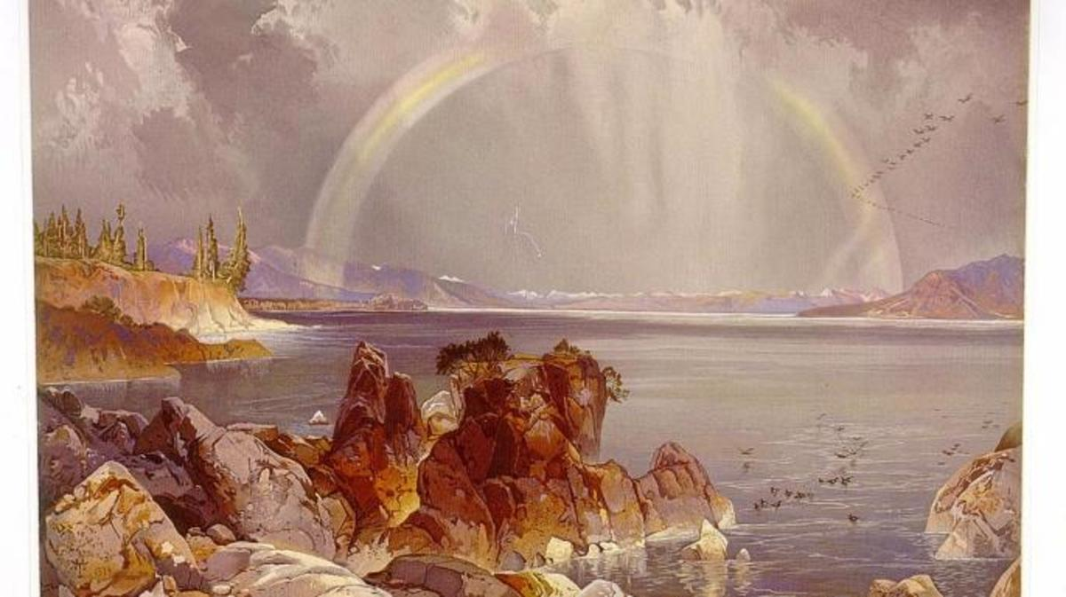 Yellowstone Lake painting by Thomas Moran. (Credit: Library of Congress)