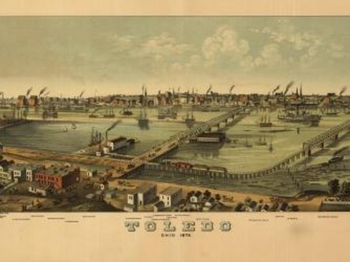 An elevated, 'bird's eye' view of Toledo, Ohio, 1876. (Credit: Buyenlarge/Getty Images)