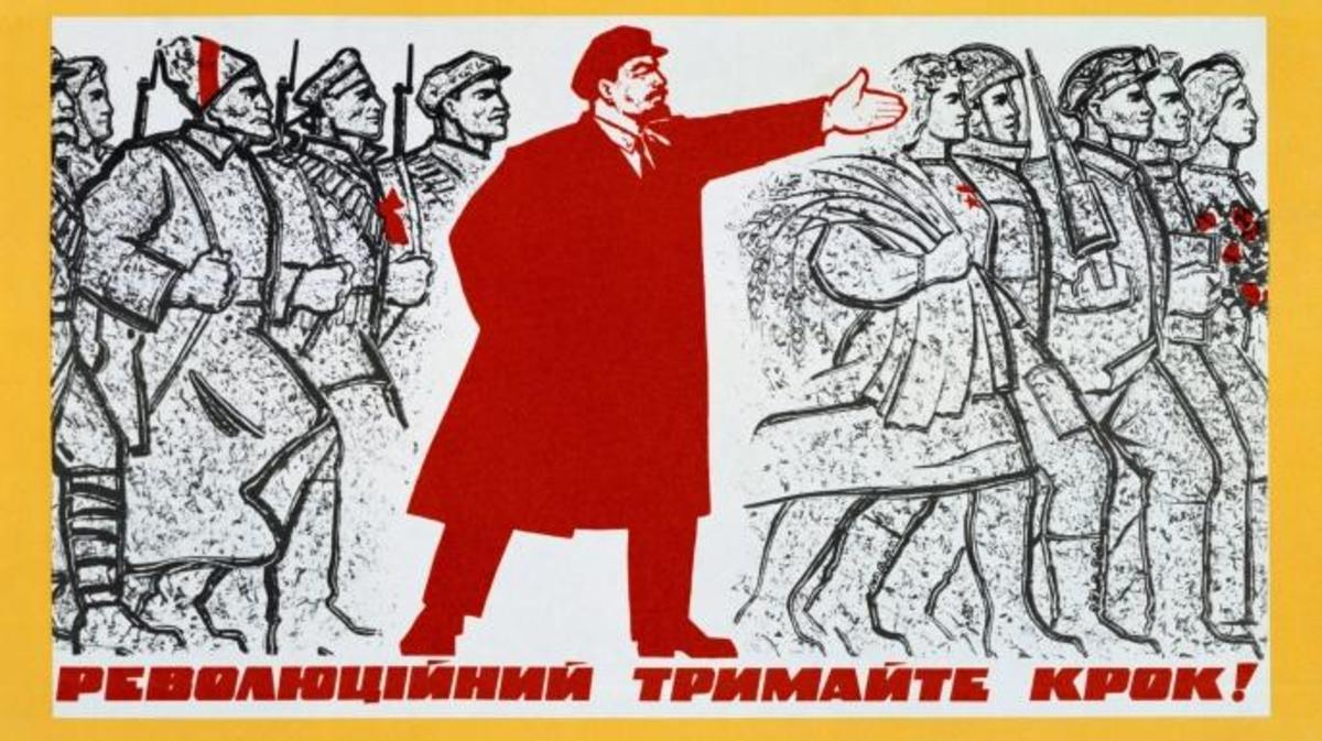 Poster of Lenin leading the Russian people. (Credit: Universal History Archive/Getty Images)