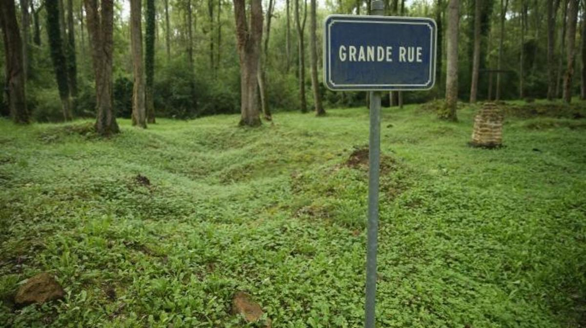 A sign marks where the main street once passed on the site of the former village of Bezonvaux. (Credit: Sean Gallup/Getty Images)