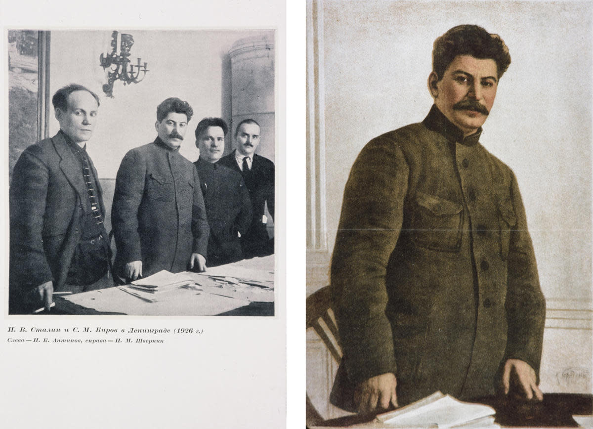Left shows the original photograph of Nikolai Antipov, Stalin, Sergei Kirov and Nikolai Shvernik in Leninigrad, 1929. (Credit: Tate Archive by David King, 2016/Tate, London/Art Resource, NY)