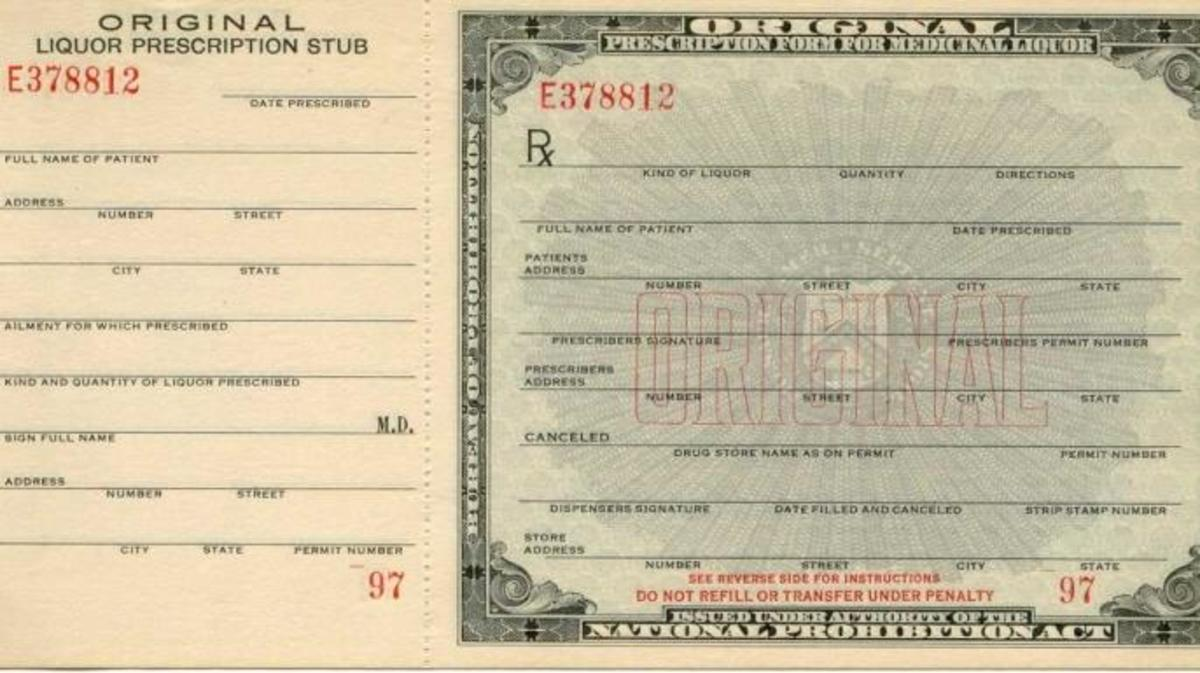 An official medicinal alcohol prescription from the 1920s.