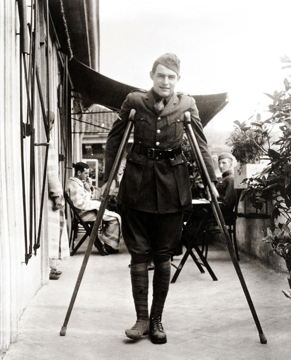 Author Ernest Hemingway in Italy, April 1919, after being seriously wounded during World War One. (Credit: The Library of Congress/Popperfoto/Getty Images)
