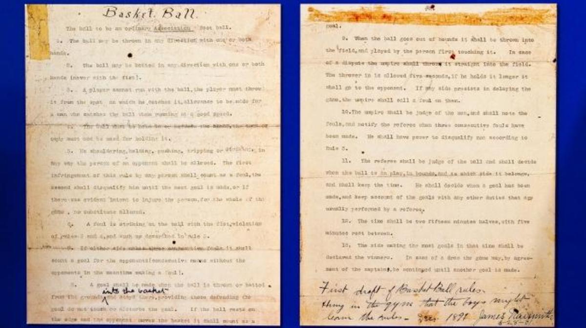 James Naismith's Original Rules of Basket Ball display, developed in 1891. (Credit: Witold Skrypczak/Getty Images)