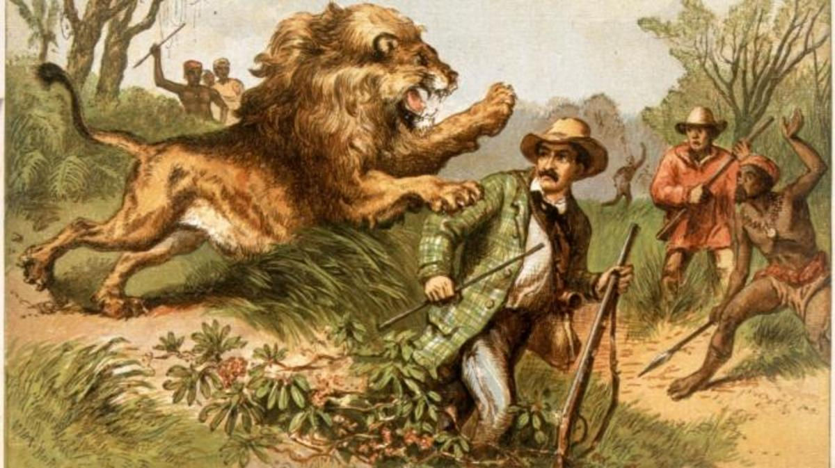 Depiction of Livingstone's 1843 lion attack (Credit: Hulton Archive/Getty Images)
