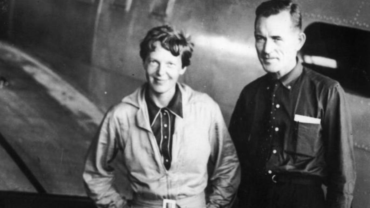 Fred Noonan with Amelia Earhart on June 11, 1937.