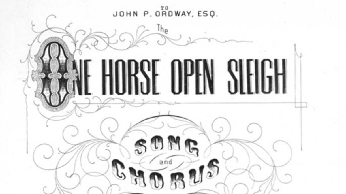 "Title page of ""One Horse Open Sleigh."" (Credit: Public Domain)"